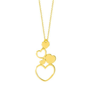 14K Gold Graduated Solid and Open Heart Necklace